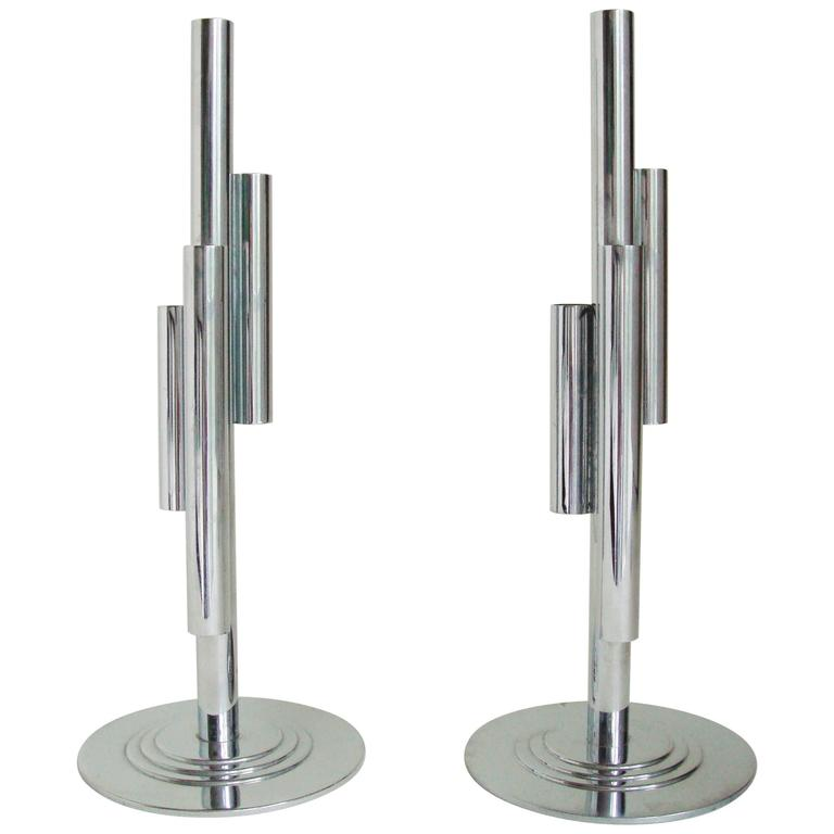 Pair of American Art Deco Chrome Four-Tube Budholders by Gerth & Gerth for Chase For Sale