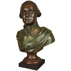 Bronzed White Metal Bust General George Washington, Foundry Mark, circa 1880