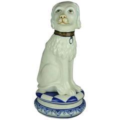 Oversized Antique Staffordshire Style Spanish Porcelain Dog, circa 1930