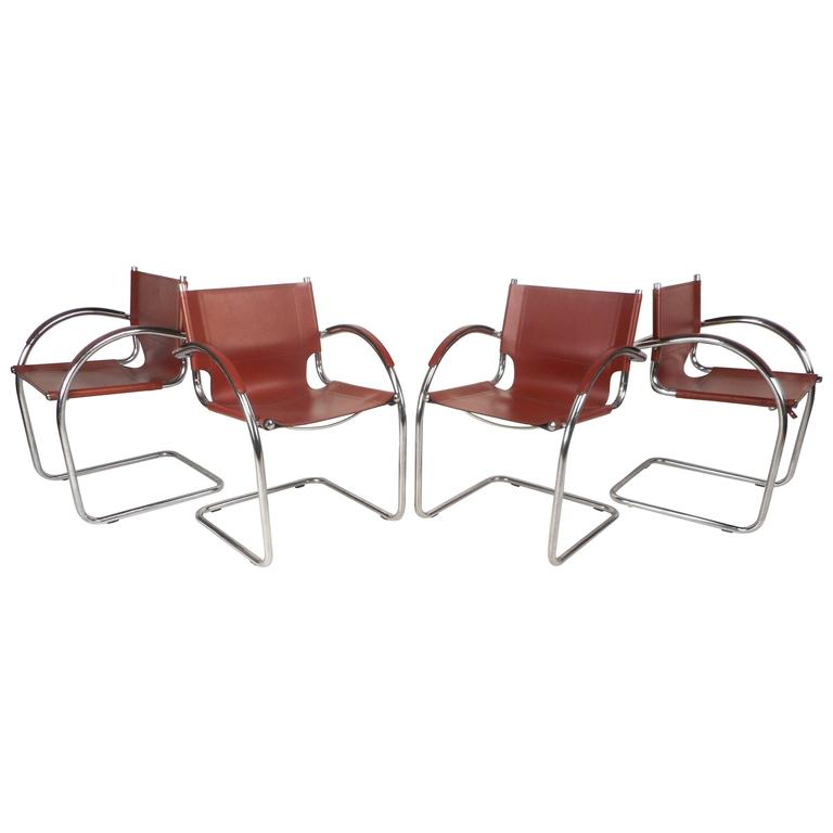 Astounding Set Of Unique Mid Century Modern Leather And Chrome Camellatalisay Diy Chair Ideas Camellatalisaycom