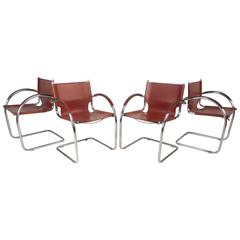 Set of Unique Mid-Century Modern Leather and Chrome Cantilever Dining Chairs