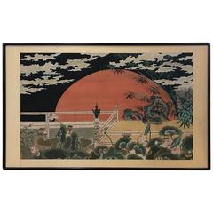 Large Chinese Painting on Silk of a Red Moon