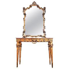 Italian Giltwood and Marble Console Table with Mirror in Rococo Style, 1950s