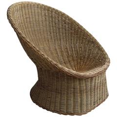 Rare Wicker Egg Shaped Armchair by Wim Den Boon, Holland, 1952