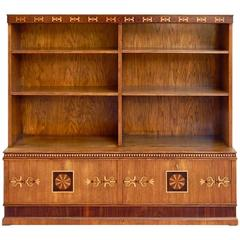Late Arts And Crafts Inlaid Bookcase In Elm Rosewood Sweden 1920