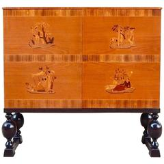 Swedish Art Deco Inlaid Storage Cabinet-Reiners Mobler Mjölby, Sweden, 1943