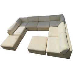 Spectacular Milo Baughman Style Eight-Piece Sectional Sofa Sleeper Mid-Century