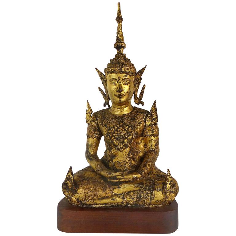 Antique Table Decor Buddha Statue Collectable Religious: Antique Thai Gilt-Bronze Buddha On Stand At 1stdibs