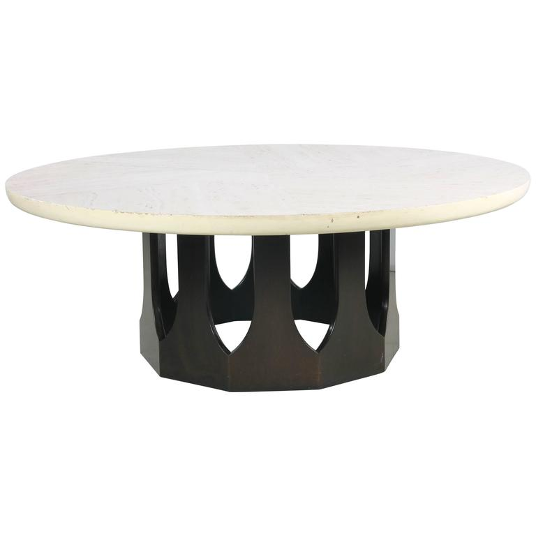 Travertine Gothic Base Coffee Table by Harvey Probber at 1stdibs