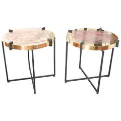 Pair of Pedestals, Top in Etched Brass, Model Julien by Arriau