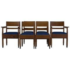 Set of Six Art Deco Haagse School Chairs by H.Fels for L.O.V. Oosterbeek