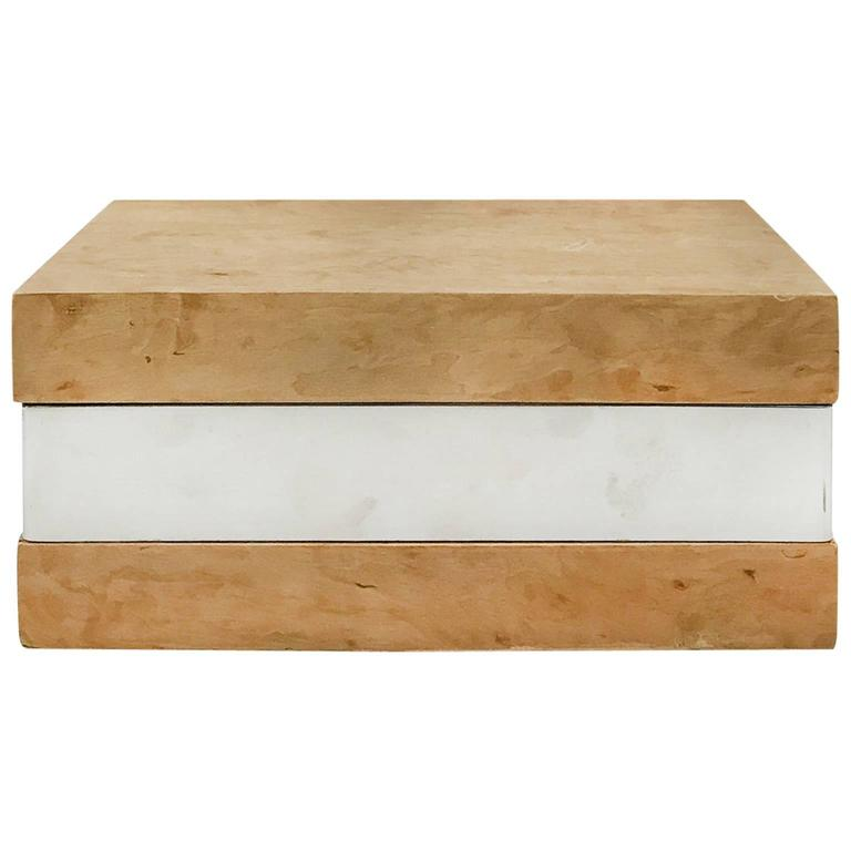 Rectangular Burl Wood Box with Chrome Banding For Sale