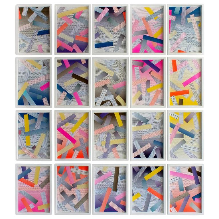 Jason Coburn Contemporary Abstract Art, Collage on Paper