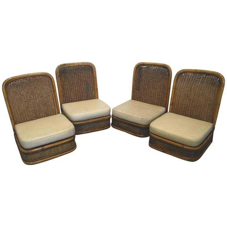 Set of Four Folding Chairs Wicker and Bamboo 1960 For Sale at 1stdibs