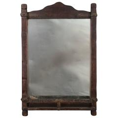 Signed Monterey Gentleman's Mirror with Old Wood Finish