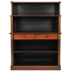 Regency Rosewood Breakfront Open Bookcase
