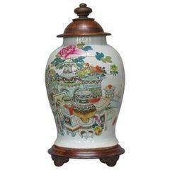 "Late Qing Dynasty Large Baluster Famille Rose ""Hundred Antiques"" Jar"