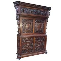 19th Century Impressive Renaissance Hand-Carved Cabinet