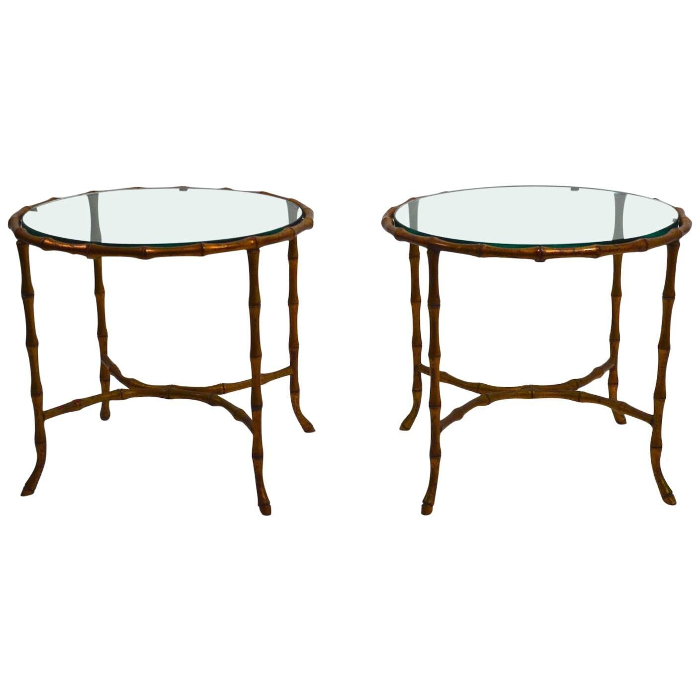 Pair of Brass  Faux Bamboo Tables Attributed to Bagues