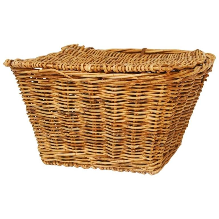 french rattan lidded harvest basket with handles for sale at 1stdibs. Black Bedroom Furniture Sets. Home Design Ideas