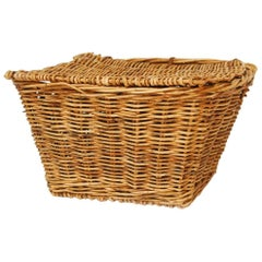 French Rattan Lidded Harvest Basket with Handles