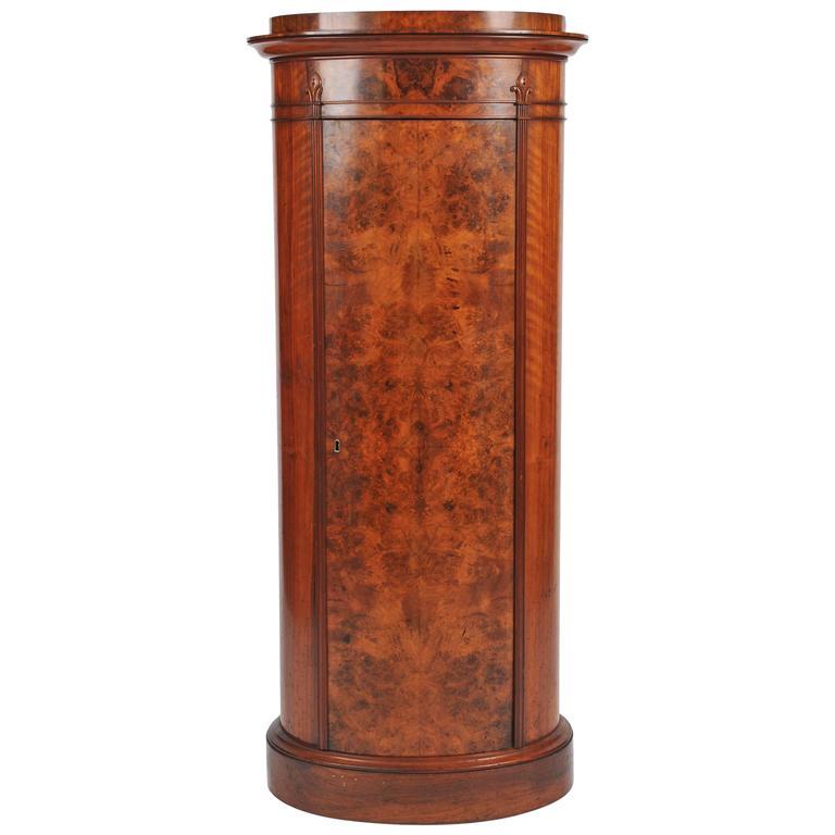 Victorian Burr Walnut Oval Pedestal Cabinet