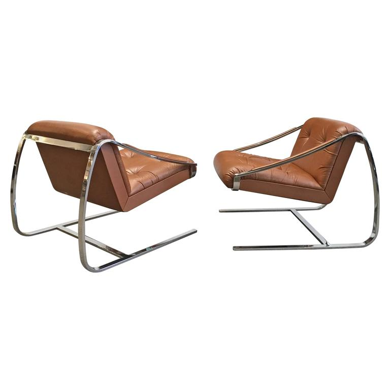 "Lounge Chairs by Brueton 1970s Pair of Steel and Leather ""Plaza""  For Sale"