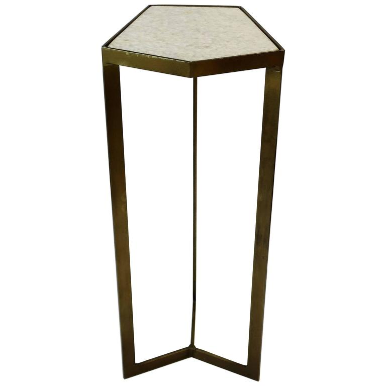 Gold Side or Drinks Table with White Marble Top For Sale
