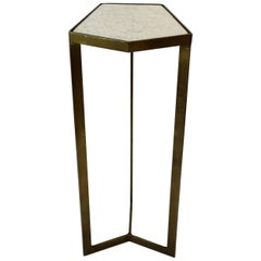 Gold Side or Drinks Table with White Marble Top