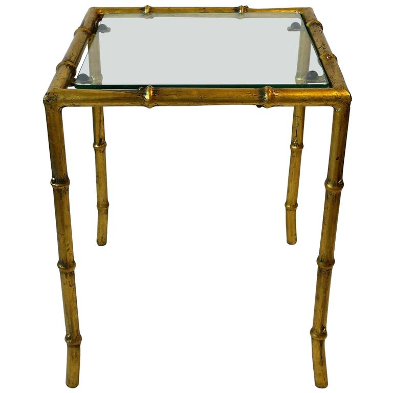 Small mid century italian gold gilt and glass side table for Small gold side table
