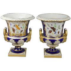Pair of Large Bloor Derby Campagna-Form Urns with Butterfly Panels