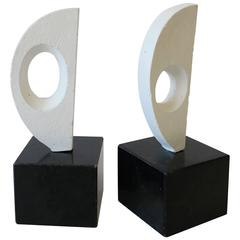 Pair of Black and White Abstract Sculpture Bookends on Marble Bases