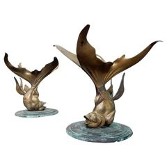 1940s Art Deco French Bronze Verdigris KOI Side Tables