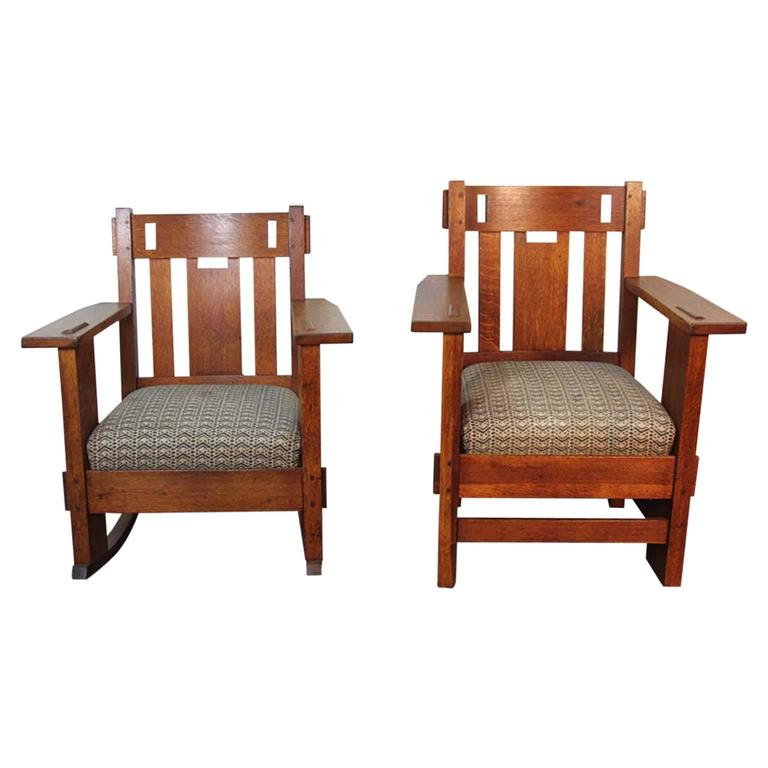 Superieur Pair Of Gustav Stickley Armchair And Rocking With Frank Lloyd Wright  Upholstery For Sale