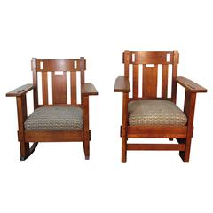 Pair of Gustav Stickley Armchair and Rocking with Frank Lloyd Wright Upholstery