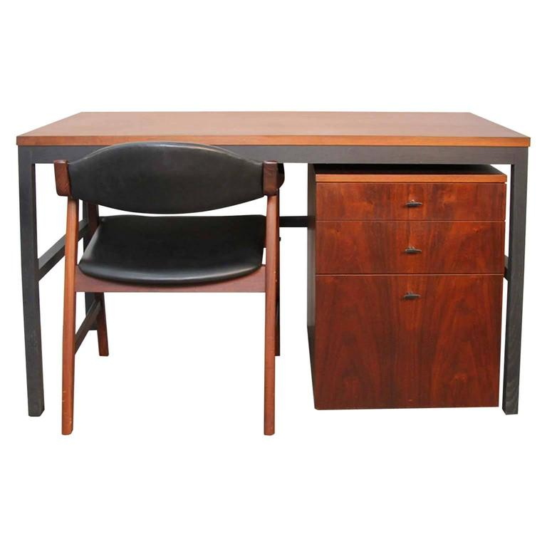 Walnut Architectural Desk and Chair by Directional, 1960s
