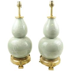 Pair of Chinese Celadon Double Gourd Vases Fitted as Lamps