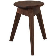 Satellite Stool in Black Walnut, Three-Legged Contemporary Handmade Stool