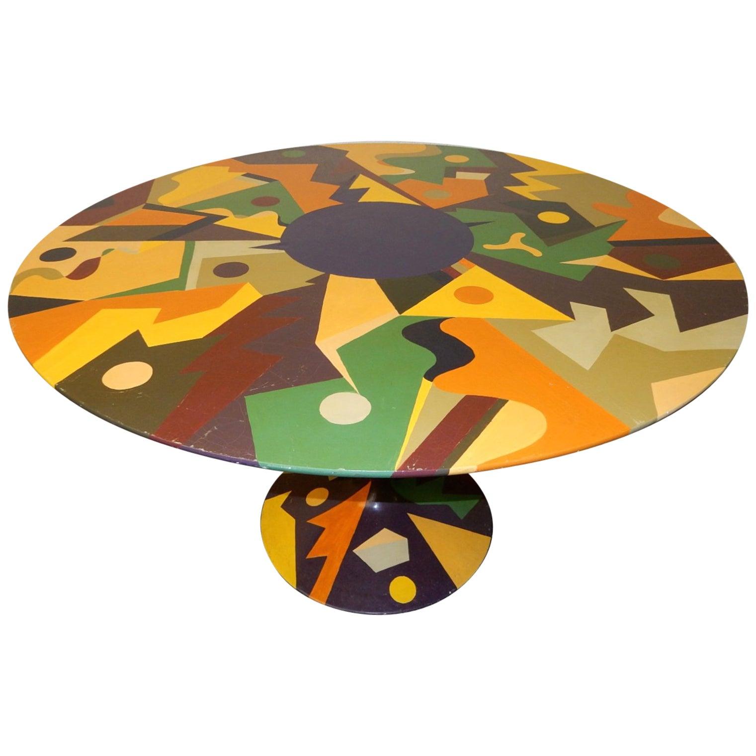 Mid Century Modern Saarinen Style Tulip Dining Table Abstract Painting At 1stdibs