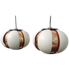 Pair of Mid-Century Louvered Copper Pendant Lamp