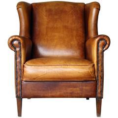 Late 20th Century Tan Leather Wingback