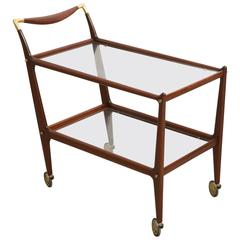 Bar Cart Cesare Lacca with Brass Details, 1960s, Italy