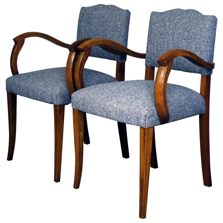 1950s reupholstered moustache back bridge chairs for sale for Reupholstered chairs for sale