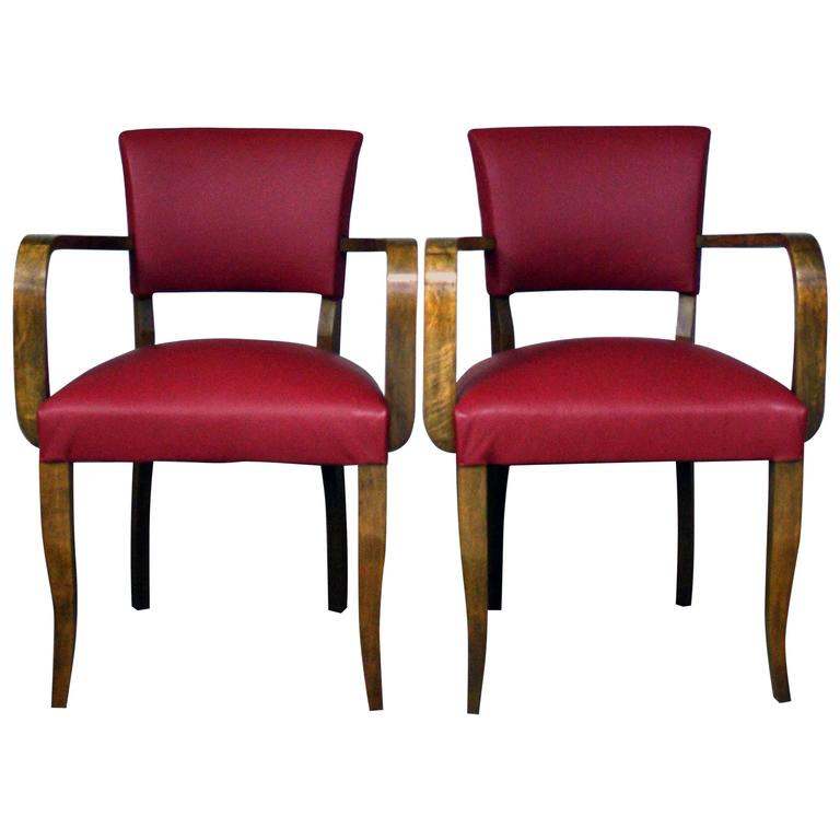 1930s reupholstered leather bridge chairs for sale at 1stdibs for Reupholstered chairs for sale