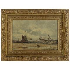Eugene Victor de Papeleu Mid-19th Century Oil on Pannel the Port, circa 1850