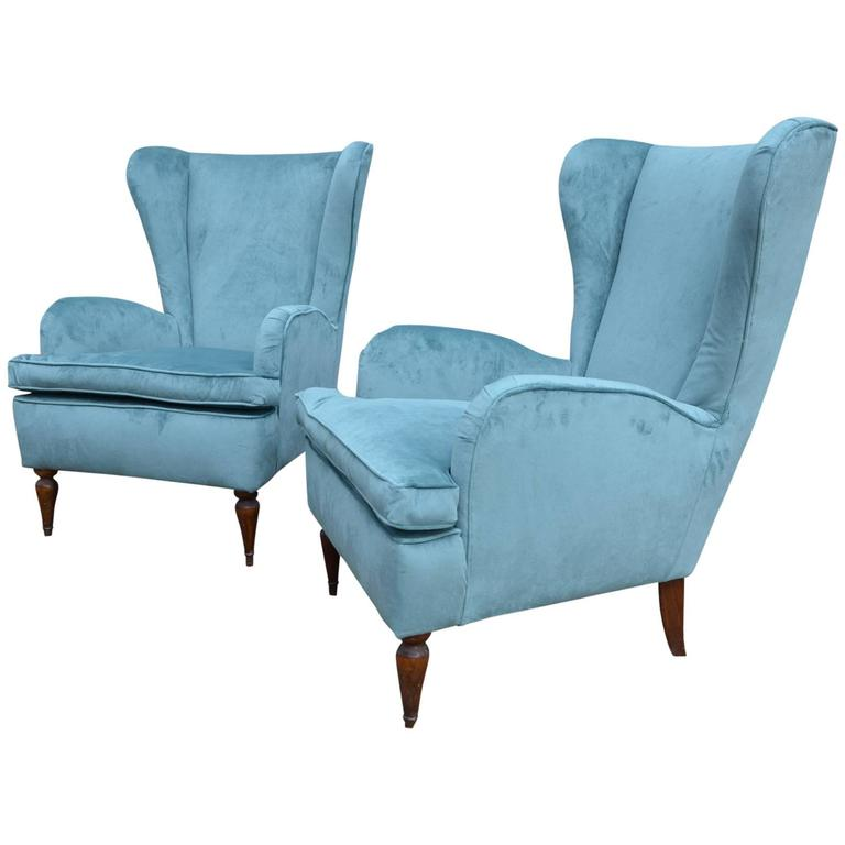 Beautiful Pair of Italian Reupholstered Armchairs in the Taste of Gio Ponti 1