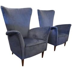 Beautiful Pair of Italian Reupholstered Armchairs in the Taste of Gio Ponti