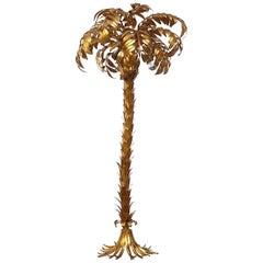 Pair of Huge Hans Kogl Gilt Metal Palm Floor Lamp