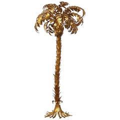 Huge Hans Kogl Gilt Metal Palm Floor Lamp