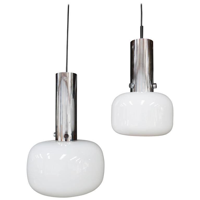 Pair of Glashutte Limburg Pendant Lamps, Germany, 1970s